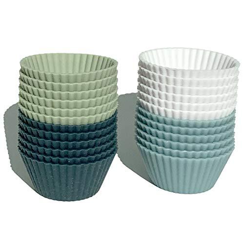 The Silicone Kitchen Reusable Silicone Mini Baking Cups - Set of 24, Non-Toxic, BPA Free, Dishwasher Safe (24, Mini)