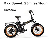 SOHOO 48V500W12AH 20' x4.0 Folding Fat Tire Electric Bicycle Mountain E-Bike Removable Battery...