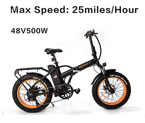 SOHOO 48V500W12AH 20' x4.0 Folding Fat Tire Electric Bicycle Mountain E-Bike Removable Battery Foldable Snow Electric Bike