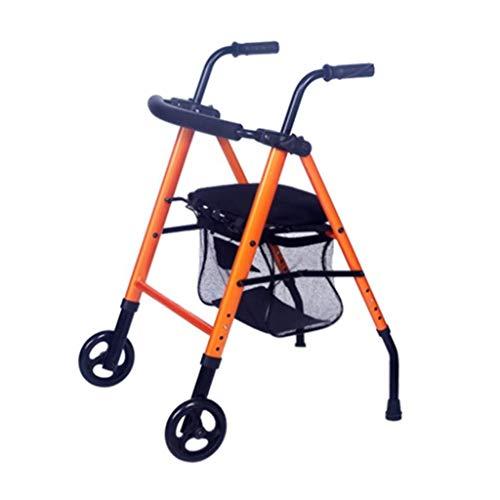 Multifunctionele Walker op twee wielen - Roller, hoge sterkte, opvouwbaar Ouderen met zitkussen en winkelmandje - In hoogte verstelbare veiligheidsframes, Ouderen