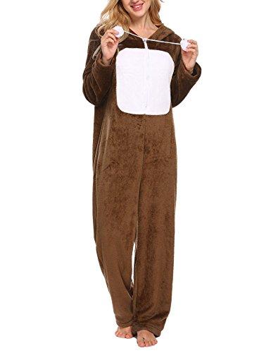 Ekouaer Women's Fleece Sleepwear Hooded Sleep Suit One Piece Pajamas Loungewear (Orange Gray,S)