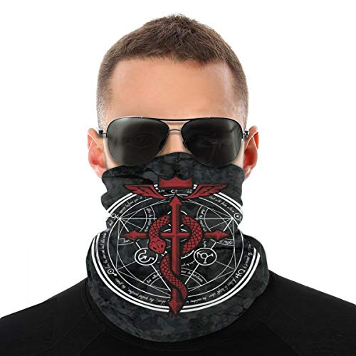 GIPHOJO Neck Gaiter Scarf Bandanas Balaclava Fullmetal Alchemist Headbands For Fishing Running Cycling Motorcycle Outdoor Soft Lightweight And Breathable