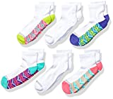 Fruit of the Loom Girls' Everyday Active Cushioned Ankle Socks 6 Pair, White Assorted, Shoe Size: 4-10