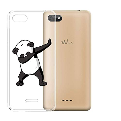"HHUAN Coque Wiko Harry 2 (5.45"") Transparente TPU Panda Cool Cover Case Souple de Protection Housse Etui Silicone Gel [Anti Choc] Bumper Coque pour Wiko Harry 2 (5.45"")"