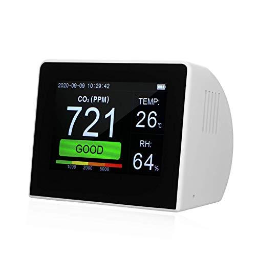 WNN-URG CO2 / RH/Timer 3-IN-1 AIR-Qualitätsmessgerät Wärmefeuchtigkeitsmonitor Indoor/Outdoor CO2-Monitor Kohlendioxid-Konzentrationsmesser 3,5-Zoll-Büro-Fahrzeugaufladbarer URG