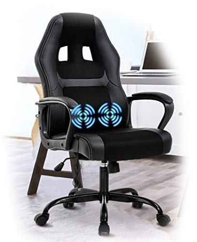 PC Office Chair Gaming Desk Chair, Ergonomic Heavy Duty PU Leather Racing Video Game Office Chair with Massage Function Lumbar Support for Home Office Computer Gaming Chairs Video Game Chairs - Black