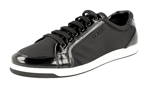 Prada Damen Schwarz Saffiano Leder Sneaker 3E5892 41 EU