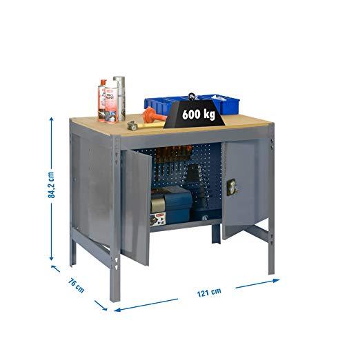 Banco de trabajo con armario BT0 Simonwork Gris/Madera Simonrack 842x1210x760 mms - mesa de trabajo - banco de trabajo - mesa de taller 600 Kgs de capacidad por estante
