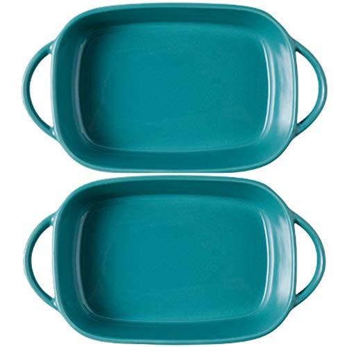 "Mokpi Small Roasting Lasagna Pan Individual Ceramic Glaze Baking Dish Rectangular Casserole Baker for Oven Ovenware Bakeware, 2-Piece (7""x5""x2"", Green)"