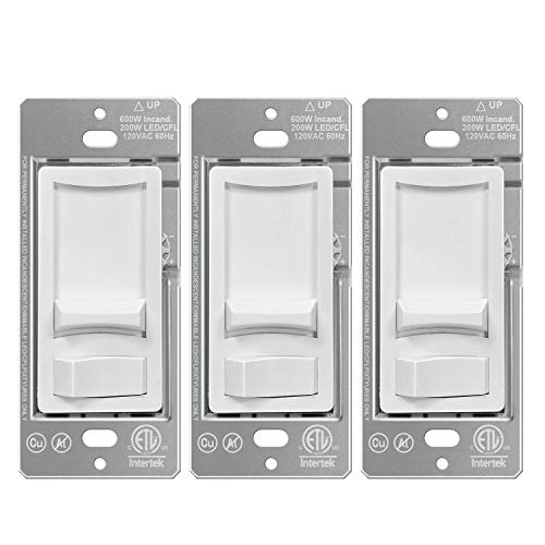 [3 Pack] BESTTEN Ultra Slim Dimmer Light Switch, Single-Pole or 3-Way, for Dimmable LED, CFL, Halogen and Incandescent Bulbs, ETL Listed, White
