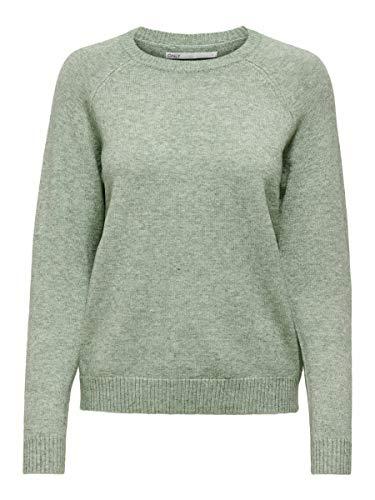 Only Onllesly Kings L/s Pullover Knt Noos suéter, Multicolor (Basilw Melange), X-Large para Mujer