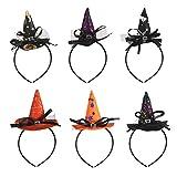 Diadema de Bruja Halloween KATOOM 6PCS Hairband de Disfraces Mini Sombrero de Bruja con Plumas y Velo para Decoración de Fiesta de Disfraces de Halloween Cabello para Niñas y Mujeres