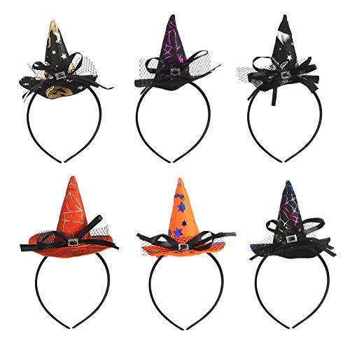 KATOOM 6STK Hexenhut Haarreif Set Halloween Hexe Stirnband Spinnen Haarschmuck Kinder Damen Kopfbedeckung Hexenkostüm Zubehör für Gruselparty Karneval Fasching Walpurgisnacht Halloweendekoration