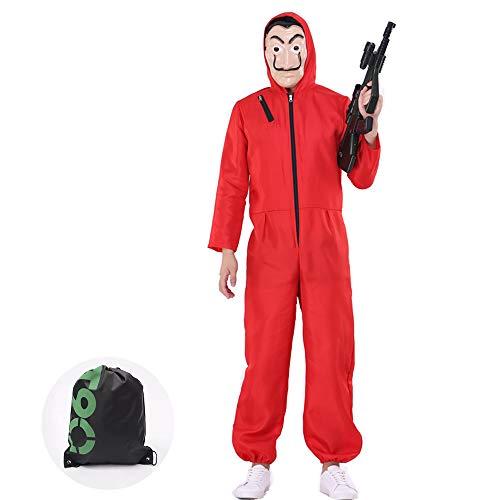 N / A Haus des Geldes Kostüm mit Maske - La Casa De Papel Kostüm Roter Overall Dali Jumpsuit für Halloween Cosplay (M)
