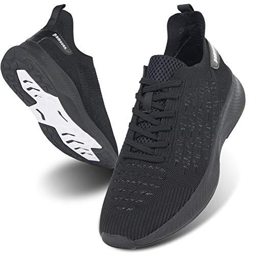 MGNLRTI Herren Straßenlaufschuhe Laufschuhe Sneaker Lässig Sportschuhe Turnschuhe Traillauf Fitness Schuhe für Outdoor Jogging Gym Tennis Walkingschuhe schwarz Mode EU42