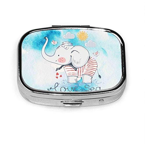 Sailor Elephant Fashion Square Pastillero Vitamina Medicina Soporte para tableta Cartera Organizador Estuche