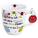 Die Geschenkewelt 45357 Kaffee-Tasse mit Spruch, Das Leben ist das mit der Freude, Porzellan, mit...