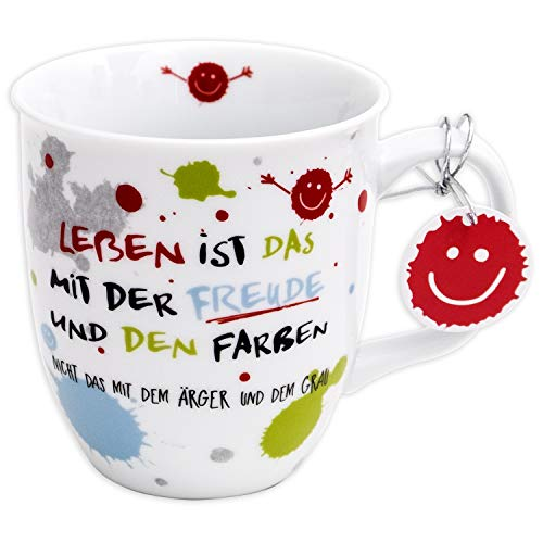 H:)PPY life 45357 Kaffeebecher mit Dekor Freude, Geschenktasse, Porzellan, 40 cl