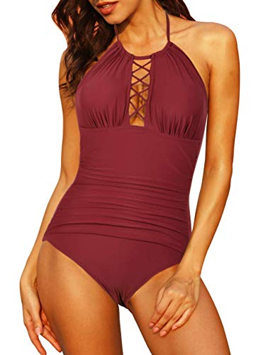 Firpearl Women's Halter One Piece Swimsuits Plunge High Neck Cutout Ruched Swimwears US14 Red