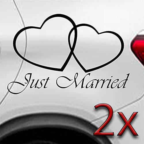 LEON-FOLIEN 2 Aufkleber Just Married 18x10 cm Herz Herzchen Liebe Heirat Autoaufkleber Sticker Autotattoo Wandtattoo Tattoo Tuning Glanz Folie in Schwarz - 2 Stück