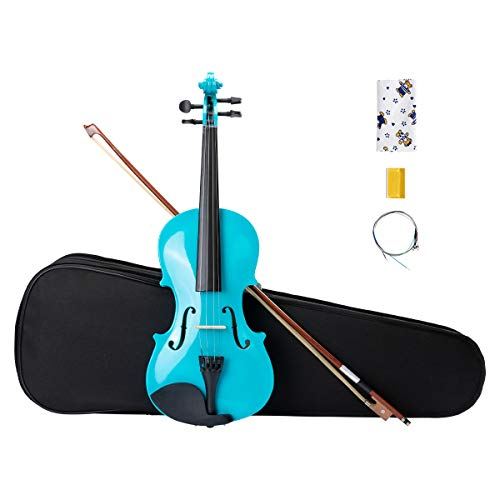 ARTALL 4/4 Handmade Student Acoustic Violin Beginner Pack with Bow, Hard Case, Chin Rest, Spare Strings, Rosin and Bridge, Glossy Blue