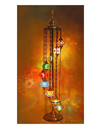 QIDOFAN Lámpara de pie Increíble turca Lámpara de pie, mosaico marroquí hecha a mano del vidrio manchado de pie Lámpara de la vendimia, lámpara turco Interior