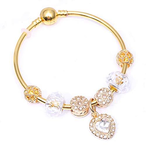 Color oro serpiente cadena encanto brazalete con corazón de cristal colgantes DIY moda joyería regalo para las mujeres C01 17cm