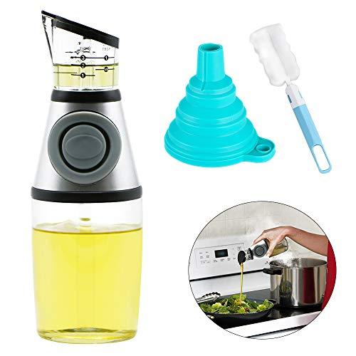 Land Joy olieflesje, oliedispenser olie azijn fles dispenser houder olijfolie schenktuit karaf van glas, met doseerpomp en glazen kala, incl. Flessenborstel trechter (lekvrij, 250 ml)