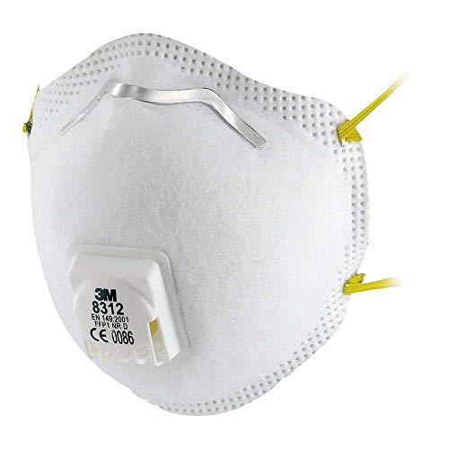 3M Atemschutzmaske, FFP1 NR D, mit Cool-Flow Ausatemventil, 10 Stück, weiß, 8312, EN-Sicherheit zertifiziert