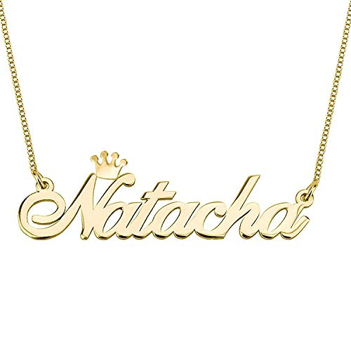 Smileface Custom Name Crown Necklace Personalised Stylish Jewellery - Gold Plated Name Plate Pendants Necklaces Gifts for Women Girls Birthday Christmas - Customised Chain Necklace Length