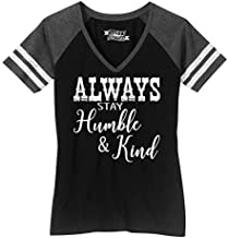 Ladies Game V-Neck Tee Always Stay Humble & Kind Country Music Song Black/Heathered Charcoal M