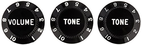 Fender Strat Knobs, One Volume, Two Tone, Black thumbnail image