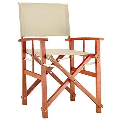 Deuba® Gartenstuhl Cannes FSC®-zertifiziertes Eukalyptusholz faltbar Klappstuhl Holz Stuhl Regiestuhl Beige