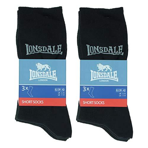 Lonsdale 6 Paar kurze Socken, mittlere Wadenhöhe, ausgezeichnete Baumwollqualität (Schwarz, 43-46)