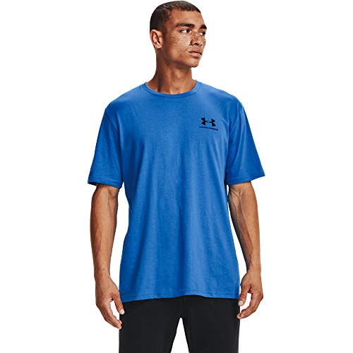 Under Armour Left Chest - Camiseta de Manga Corta para Hombre, Hombre, Manga Corta, 1326799, Brilliant Blue (787)/Negro, Large