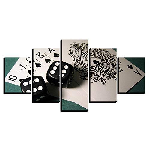 Chihie HD Leinwand Kunst Malerei für Wohnzimmer Wanddekoration 5 Stück Schwarz Weiß Spielkarten König Kartenspiele Siebdruck Bild 40x60cmx2 40x80cmx2 40x100cmx1 Kein Rahmen
