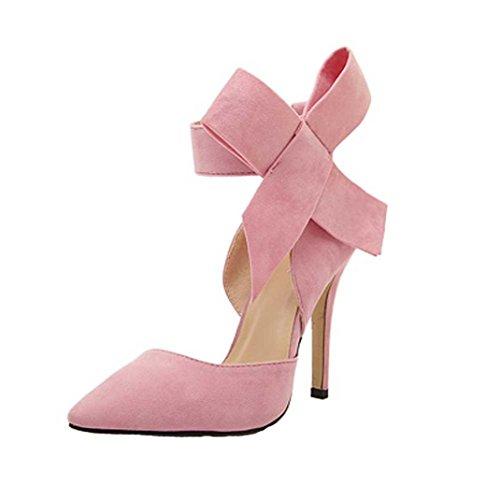 UFACE GroßE High Heels Schuhe aus Wildleder mit Wildlederimitat Frauen Pumps Einem GroßEn Bogen Fliege Scharfen Zehe Stilettos Plus Size (37, Rosa)