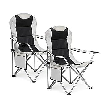 IWHM-Chaise Pliable de Camping-Lot de 2 Chaises Pliables, Chaise de Plage avec Porte-Gobeletet Poche de Côté, pour Extérieur, Jardin, Plage, Charge Maximale de 120 kg(Light Gery)