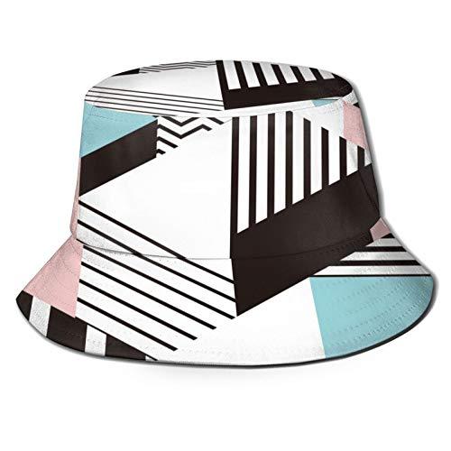 PUIO Sombrero de Pesca,Colorido patrón geométrico de Memphis en Forma Abstracta Moderna Diversión Bauhaus,Senderismo para Hombres y Mujeres al Aire Libre Sombrero de Cubo Sombrero para el Sol