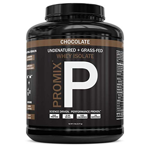 PROMIX: #1 Chocolate Undenatured Grass Fed Whey Isolate Cold Processed gt Multistage Microfiltration 30G Protein /69G BCAA /5G Fat /2G Carbs / lt1g LactoseEasy to Mix 5LB bulk Chocolate