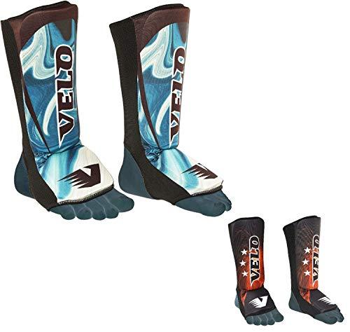 Velo Schienbeinschoner aus Lycra, Gebogene MMA-Beinschoner, Kickboxen, Sublimationsdruck - blau/schwarz - XX-Small