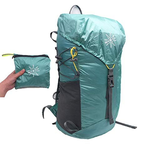 Compass Outdoors Ultralight Daypack- 30L Packable Backpack for Hiking and Travel. Lightweight Material Construction with Hydration Sleeves That Packs Down into Portable Size. (Aqua Green)