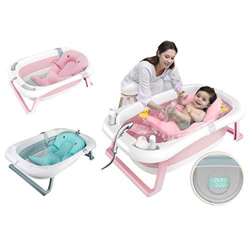 Faltbar Babybadewanne faltbare Neugeborenenbadewanne mit intelligentem Echtzeit-Temperatursensor Kinderbadewanne mit Sicherheitsbadesitz babybadewanne mit ständer 85*53*25cm aus PP und TPE tragbar