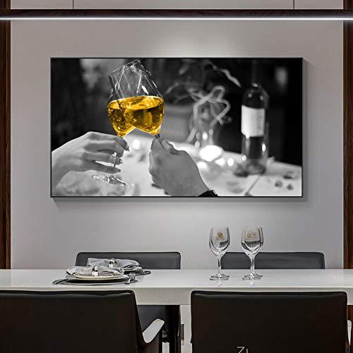 NFXOC Copas de Vino Amarillas Modernas Carteles de Licor Pintura de Arte de Pared Cuadros nórdicos Sala de Estar Dormitorio Decoración Mural -19.6'x 39.4' (50x100cm) Sin Marco