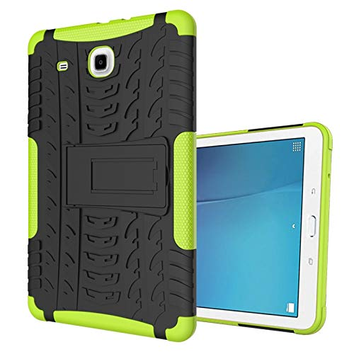 ZHENGNING Protective Case Tablet Cover for Samsung Galaxy Tab E 9.6 inch/T560 Tire Texture Shockproof TPU+PC Protective Case with Folding Handle Stand Tablet Slim Cover Shell (Color : Green)