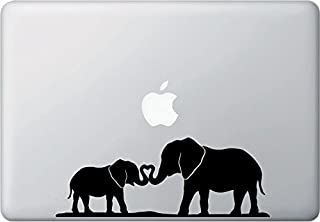 Elephant Mom and Baby Making Heart Compatible With Trunks Decal Vinyl Sticker|MacBook Laptop Computer Cars Trucks Vans Walls| BLACK |8 x 3.75 in|CCI858