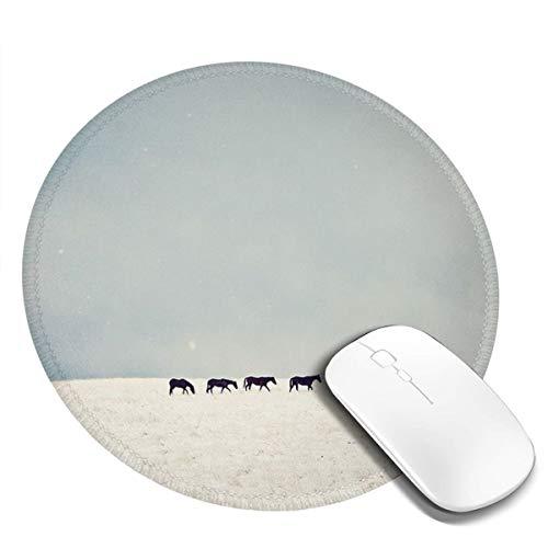 7.9x7.9in ronde muismat bureau paarden in sneeuw toetsenbord mat grote muismat voor computer desktop laptop