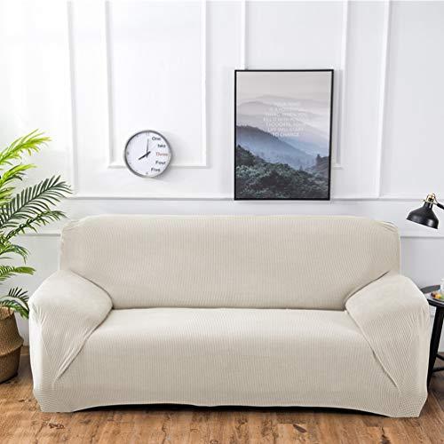 ADGAI Funda de sofá elástica de Tres Piezas de 1 Pieza antiarañazos para Perros Gato, Protector de sofá de Tela Suave Moderno elástico,Blanco,3seater