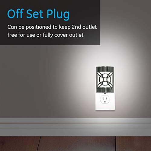 GE CoverLite LED Night Light, Plug-in, Dusk to Dawn Sensor, Home Decor, UL-Listed, Ideal for Kitchen, Bathroom, Bedroom, Office, Nursery, Hallway, 11358, 1 Pack, Brushed Nickel | Geometric