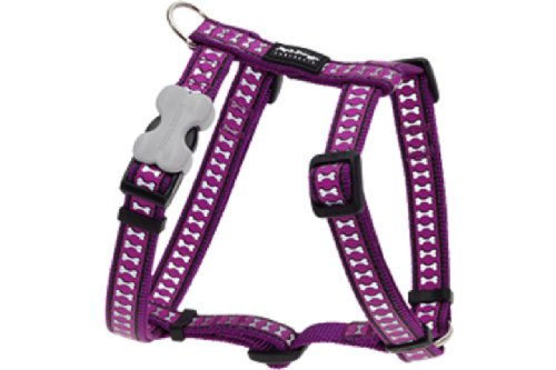 Red Dingo Reflective Dog Harness, Large, Purple